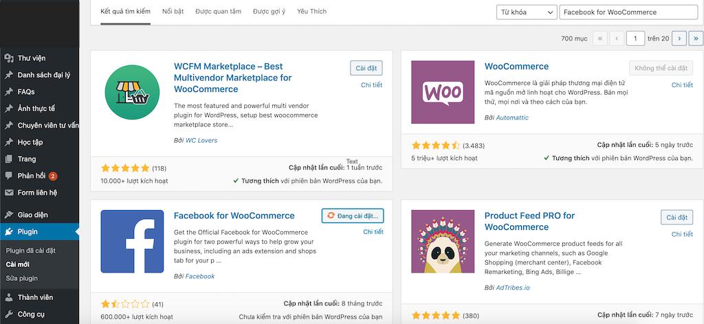 Active Plugin Facebook For WooCommerce