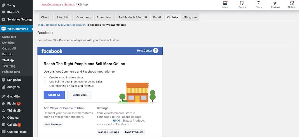 Hoàn tất cài đặt sản phẩm WordPress lên Facebook Shop