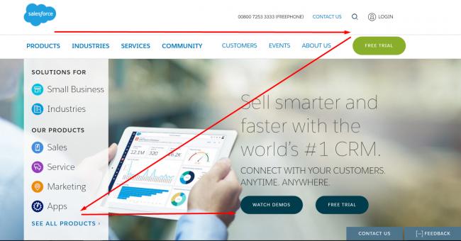 Salesforce homepage Z pattern